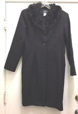 SWEET SUIT Long Black Dressy Faux Fur Collar Lightweight Unlined Overcoat Sz 10