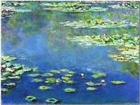 """Waterlilies 1907 by Claude Monet Canvas Print Poster 36"""" X 24"""""""