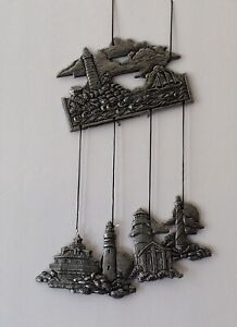 Carson pewter/aluminum wind chimes light house theme old store stock no box