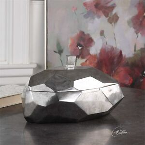 MINTA MODERN HOME DECOR JEWELRY TARNISHED SILVER BOX REMOVABLE LID UTTERMOST