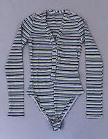 Fashion Nova Women's L/S Striped Matilda Bodysuit AN3 Blue/Combo Size XS NWT