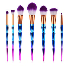 pinceaux maquillage licornes, unicorn make up brushes rainbow color
