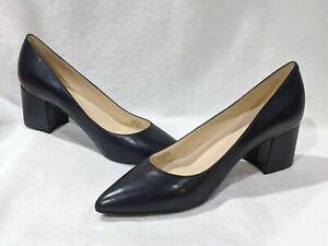 Nine West Women's ISSA Dark Blue Leather Block Heels - Size 7/11 NWB