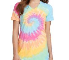 Ladies Tie-Dye V-Neck Tee-Shirt XS-4XL 7 Colors Brand New