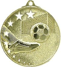 Soccer / Football Medal Gold 50mm With Neck Ribbon Engraved