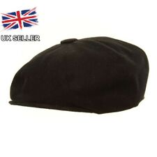 7355d8a7 Black Wool Mix 8 Panel Flat Gatsby Newsboy Baker Boy Peaky Blinder Cap 58 Cm