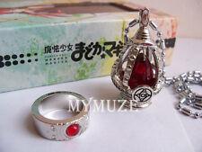 Red Puella Magi Madoka Magica Kyoko Sakura Soul Gem Cosplay Necklace and Ring
