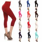 Womens capri leggings seamless skinny stretch cropped solid yoga pants one size