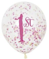 6 Girls 1st Birthday Confetti Latex Balloons Pink & Gold Baby Party Decoration