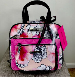 Betsey Johnson 3 Pieces Cosmetic Case Zip Around Blush Background Floral Bag NWT