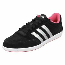 Ladies Adidas Neo Lace Up Black/Pink Lace Up Trainers Hoops VL W AW5372