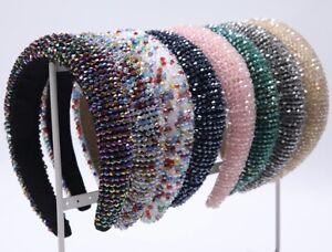 New women fashion multicolor rhinestone bead crystal padded wide headband