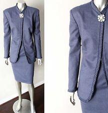 Deco Vintage 50s 60s Mod Go Go Pleated Pencil Skirt Jacket Blazer Suit Sz M