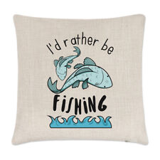 I'd Rather Be Fishing Linen Cushion Cover Pillow - Funny Sport Fish