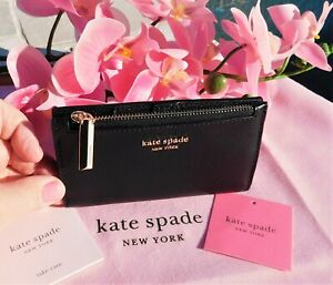 🌸 NWT Kate Spade New York Sylvia Small Slim Bifold Leather Wallet Black New $98
