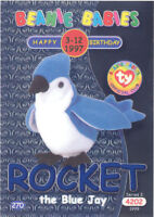 TY Beanie Babies BBOC Card - Series 2 Birthday (BLUE) - ROCKET the Blue Jay NM/M