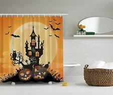 Halloween Decoration Jack o Lantern Haunted House Bats Pumpkin Shower Curtain