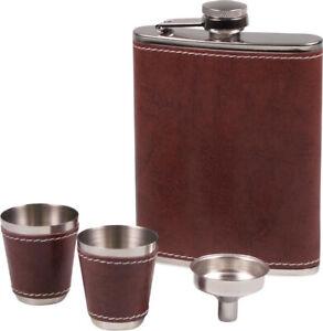 Flachmann Set Chrome - Leather Look Braun - 2 Mug - Funnel - 7 OZ/210 ML