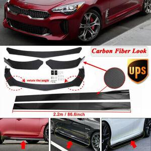 """Carbon Fiber Look 86.6"""" Side Skirt Kit+Front Bumper Lip Spoiler For KIA Stinger"""