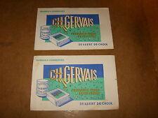 2 anciens buvards - fromages frais pure crème CH GERVAIS - années 50
