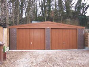 APEX WOODTHORPE DOUBLE CONCRETE SECTIONAL GARAGE - WOOD EFFECT FINISH