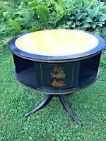 "Vintage Drum Table Asian Theme Black Leather Top 30""w X 29""h Chinoiserie Revolve"