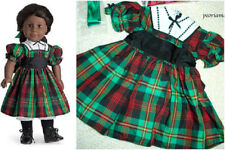 American Girl ADDY CHRISTMAS DRESS & Ribbon Green Red Plaid Holiday Hair NEW
