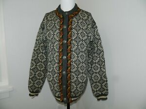 Dale of Norway Pure New Wool Cardigan Sweater sz XL