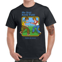 My First Knife Fight Men's T-Shirts Funny Graphic Tees Cotton Short Sleeve Tops