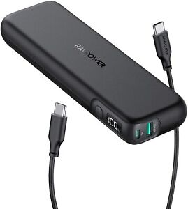 RAVPower USB C Power Bank 15000mAh 18W PD3.0 Fast Charging Slim Portable Charger