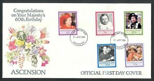 Ascension, 1986, Queen Elisabeth, 60th Birthday, FDC