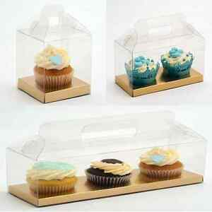 Clear Cupcake Boxes Fairy Cake Muffin Gift With Gold Inserts Transparent PVC