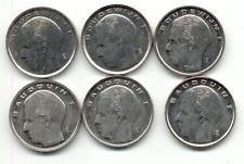 6 pièces belges de 1 francs BAUDOUIN 1989 ->1991, FR-NL