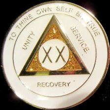 White SPARKLE Alcoholics Anonymous 20 Year AA Medallion Coin Token Chip Sobriety