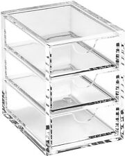 OSCO X-Small Clear Acrylic Triple Drawer Letters Desk Table Storage Organiser
