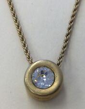 "Beautiful Swarovski Vintage Goldtone Clear Crystal Pendant Necklace 16"" REV15"