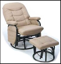 Breast Feeding Carson Glider Rocking Rocker Chair and footstool in Beige