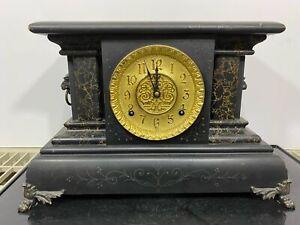 Vintage INGRAHAM Lion Head Footed Wind Up Shelf Mantle Clock
