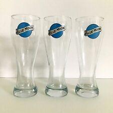 Blue Moon Logo Glasses 3 Tall Pale Belgian Ale Pilsner Beer Bar Steins Tumblers