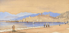20th Century Watercolour - View of Cannes from the Harbour