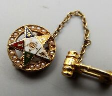 Vtg 14K Gold Order of the Eastern Star Brooch Pin Tie Tack Gavel Badge Enamel