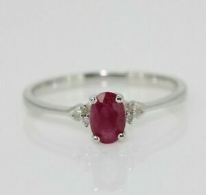 9ct White Gold 0.50ct Ruby and Diamond Solitaire Ring (Size H, N 1/2, S 1/2)