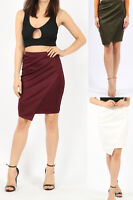 SALE Women's Ladies Wrap Over Asymmetric Mini Gathered Zip Back Party Skirt 8-14