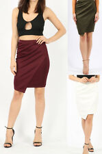 SALE Women's Ladies Wrap Over Asymmetric Mini Gathered Draped Pencil Skirt UK