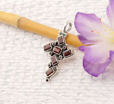 Echtschmuck-Halsketten & -Anhänger aus Sterlingsilber Kreuz-Granate