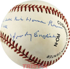 WOODY ENGLISH SIGNED BASEBALL BABE RUTH DID NOT CALL HIS H.R. IN 1932 W.S. PSA