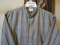 XL TALL & LONG 17.5-36 MCGREGOR CLASSIC PLAID BANDED COLLARLESS WESTERN SHIRT