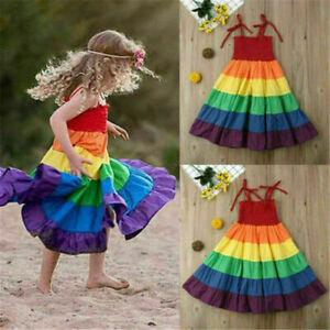 Summer Kids Birthday Party Dress Tutu Dress Baby Girls Rainbow Dresses Sundress