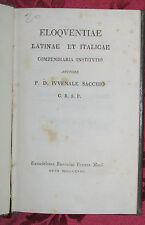 Libro Eloquentiae Latinae et Italicae Istituto Eloquenza Latina Sacchi 1818