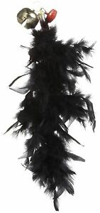 JW Pet Featherlite Boa Fluffy Cat Toy Black Color Feathers Play Large Bell
